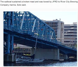 Sailboat Hits Main Street Bridge